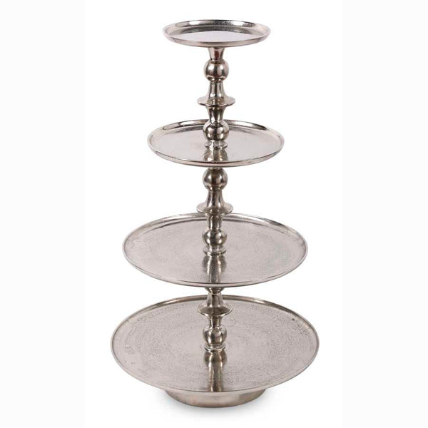Silver Nickel 4 Tiered Round Graduated Stand