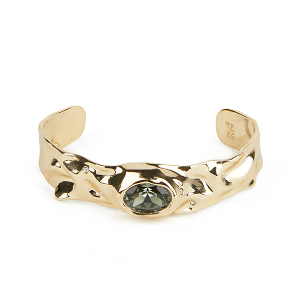 Single Stone Crumpled Cuff Bracelet