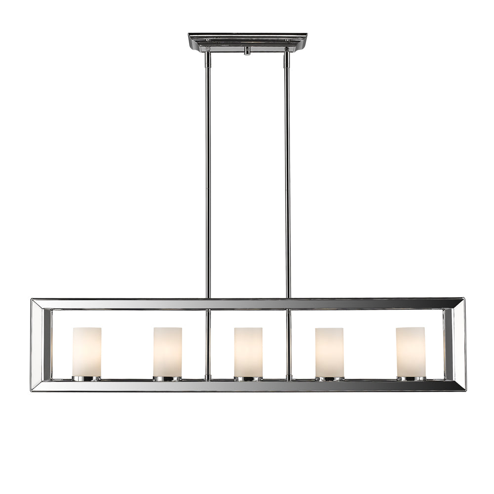 Smyth 5 Light Linear Pendant in Chrome with Opal Glass, Lighting, Laura of Pembroke