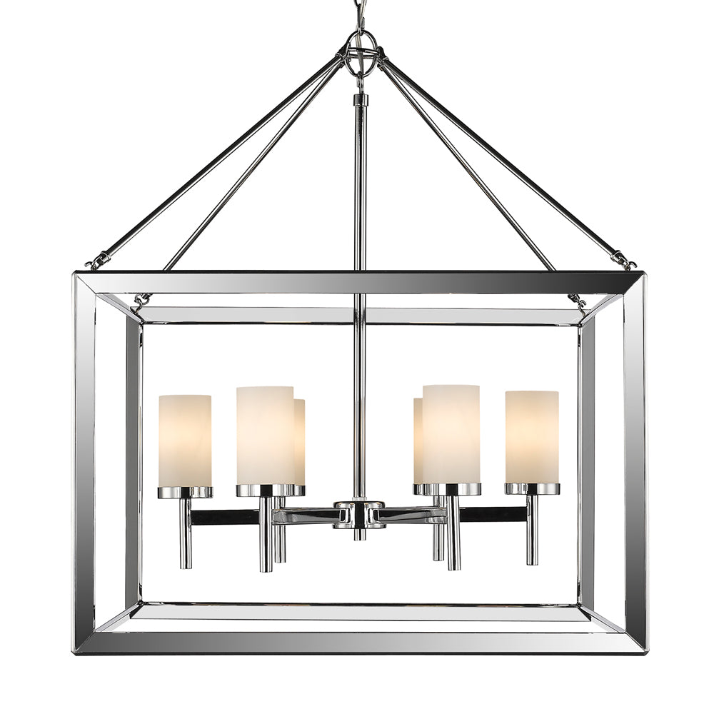 Smyth 6 Light Chandelier in Chrome with Opal Glass, Lighting, Laura of Pembroke