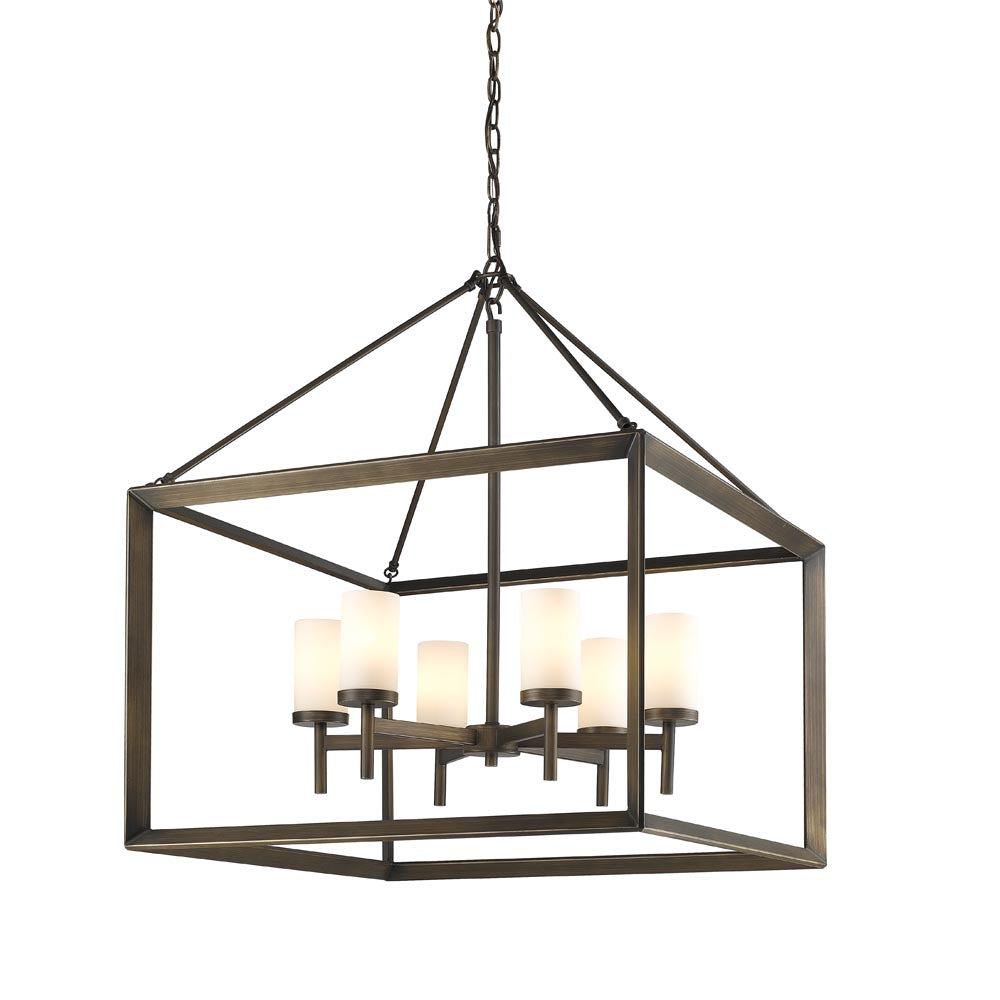 Smyth 6 Light Chandelier in Gunmetal Bronze with Opal Glass, Lighting, Laura of Pembroke
