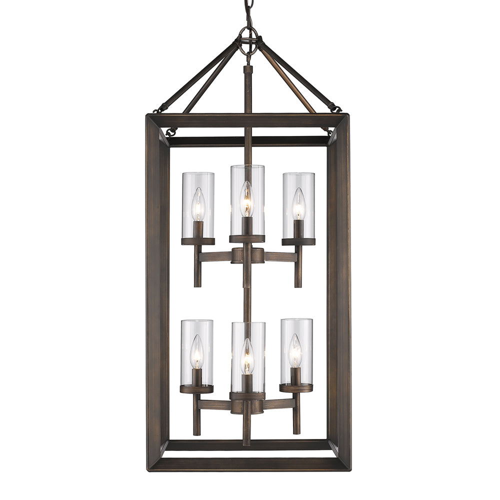 Smyth 6 Light Pendant in Gunmetal Bronze with Clear Glass, Lighting, Laura of Pembroke