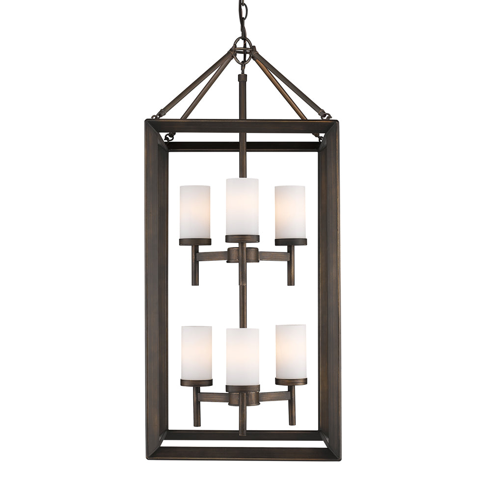 Smyth 6 Light Pendant in Gunmetal Bronze with Opal Glass, Lighting, Laura of Pembroke