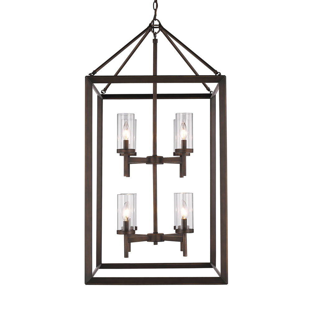 Smyth 8 Light Pendant in Gunmetal Bronze with Clear Glass, Lighting, Laura of Pembroke