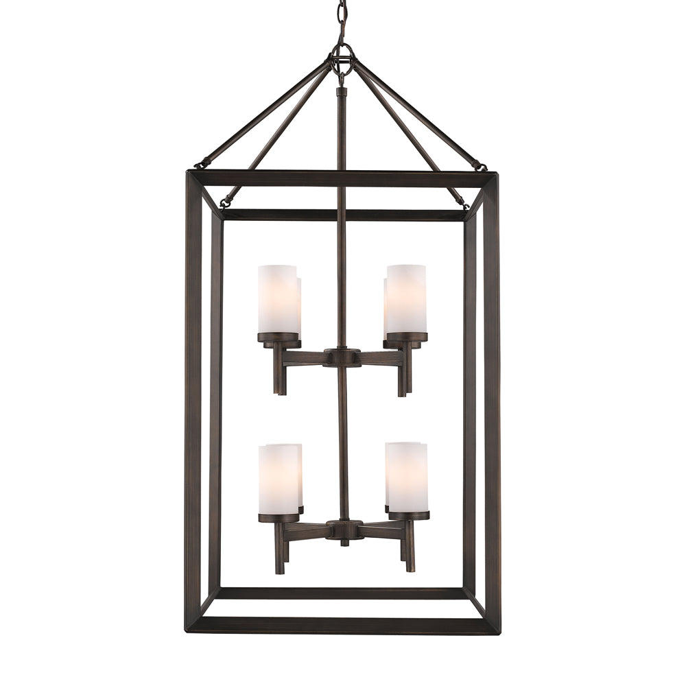 Smyth 8 Light Pendant in Gunmetal Bronze with Opal Glass, Lighting, Laura of Pembroke