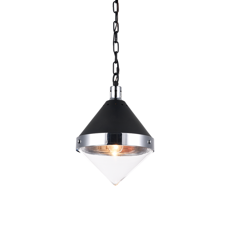 Sphercon Matte Black & Chrome 1 Light Pendant