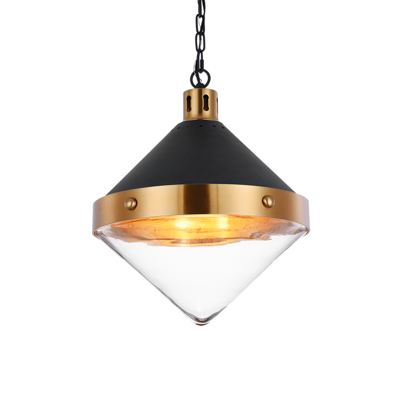 Sphercon Matte Black & Aged Gold Brass 3 Light Pendant