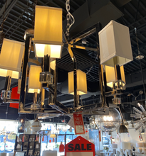Square Shade Polished Nickel 6 Chandelier