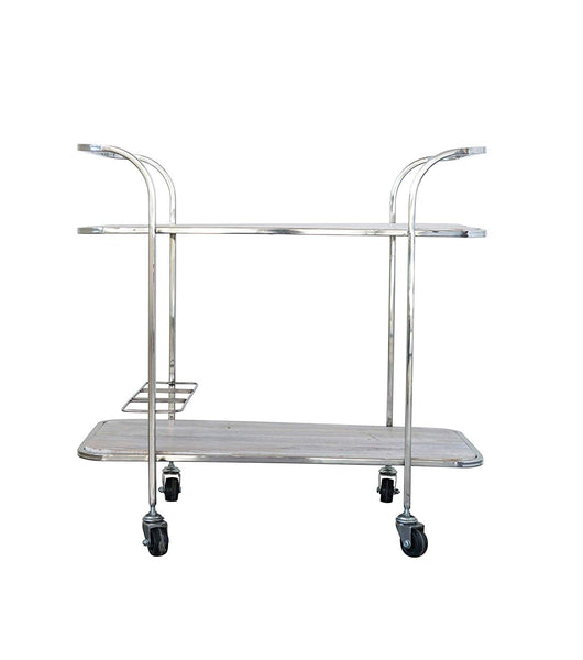 Stainless Steel 2-Tier Bar Cart on Caster Wheels
