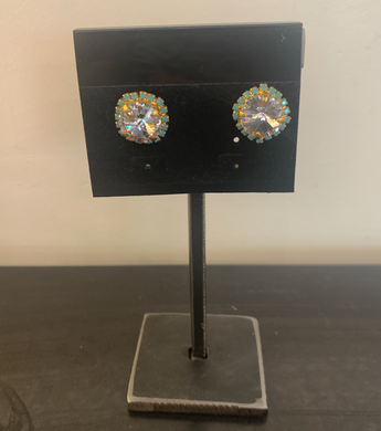 Swarovski Crystal with Turquoise Halo Stud Earrings