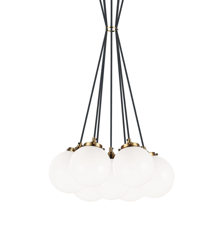 Bougie Aged Gold Brass with Black Rod 7 Light Pendant