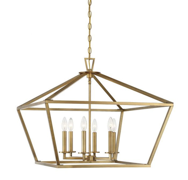 Townsend Warm Brass 6 Light Warm Brass Lantern