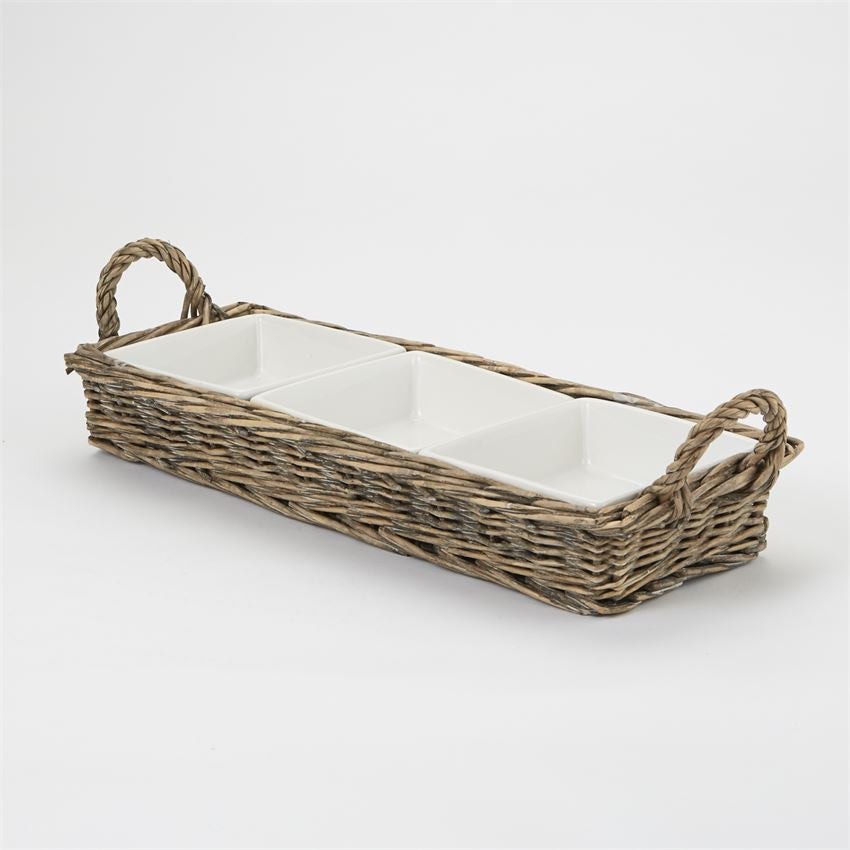 Triple Section Server Willow Basket, Gifts, Mud Pie, Laura of Pembroke