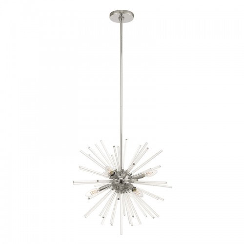 Utopia 6 Light Polished Chrome Pendant Chandelier