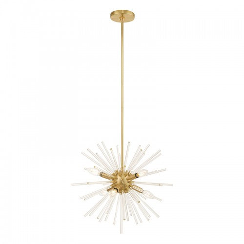 Utopia 6 Light Satin Brass Pendant Chandelier