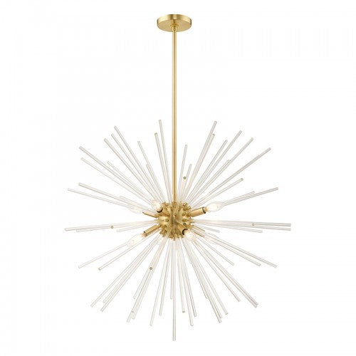 Utopia 8 Light Satin Brass Pendant Chandelier, Lighting, Laura of Pembroke