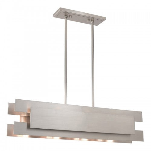 Varick 4 Light Brushed Nickel Linear Chandelier, Lighting, Laura of Pembroke