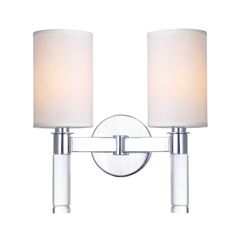White Fabric Shade Chrome 2 Light Wall Sconce Lighting Laura Of Pembroke