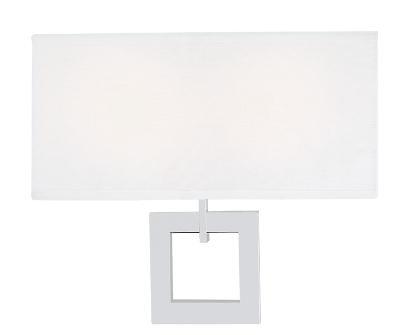 White Fabric Shade Chrome Wall Sconce
