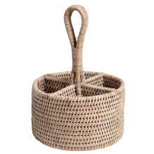White Wash Rattan Utensil Basket