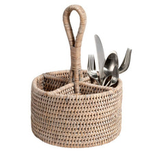 White Wash Rattan Utensil Basket, Gifts, Simon Pearce, Laura of Pembroke
