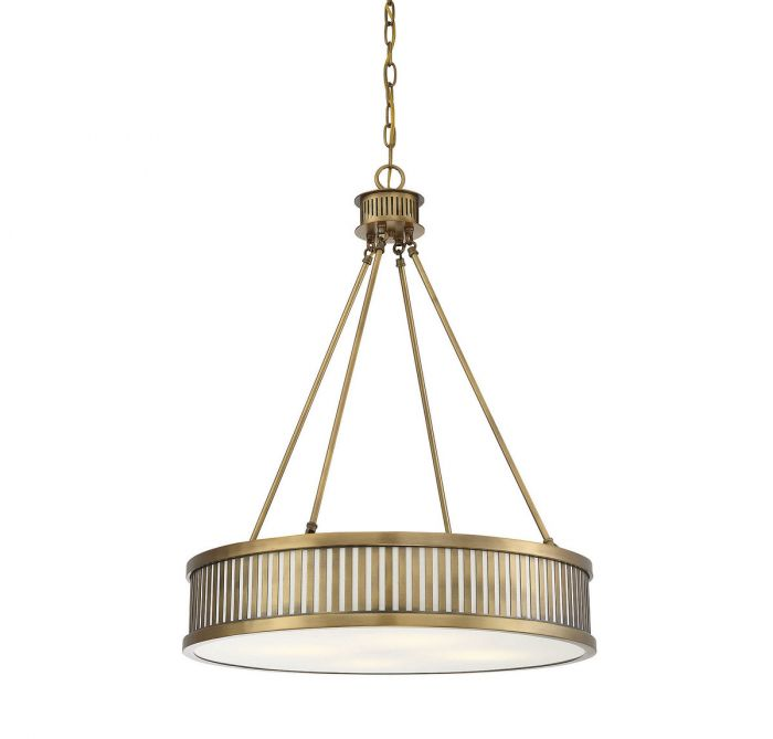 William 4 Light Warm Brass Pendant