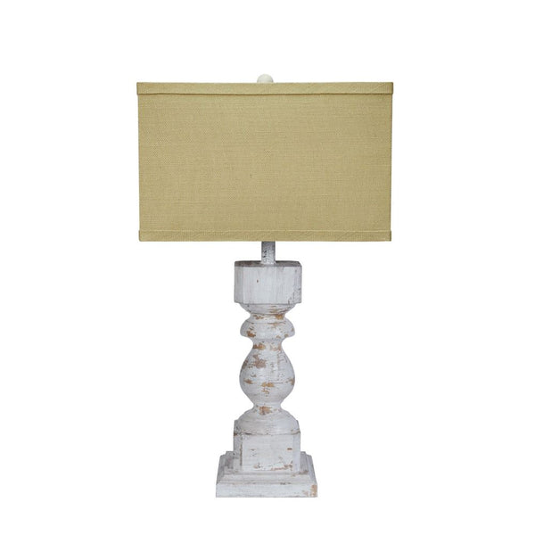 Wood & Metal Table Lamp with Shade, Distressed Cream
