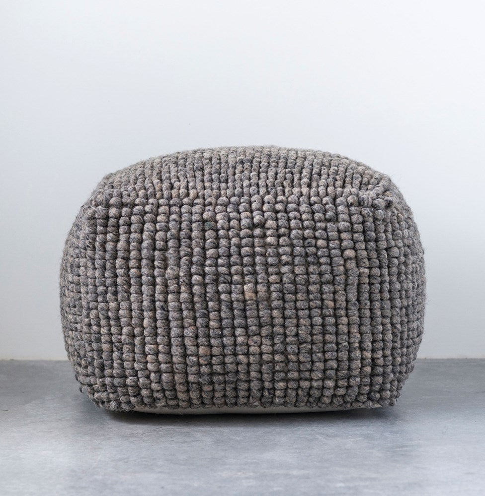 Wool Pouf, Grey