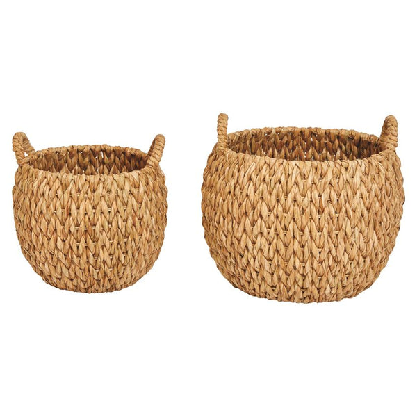 Woven Water Hyacinth Baskets with Handles-Set of 2