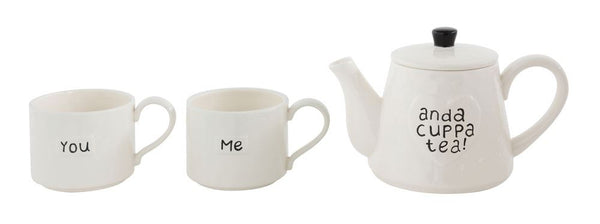 Stackable Teapot and 2 Mugs, White