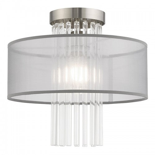 Alexis 1 Light Brushed Nickel Ceiling Mount, Lighting, Laura of Pembroke
