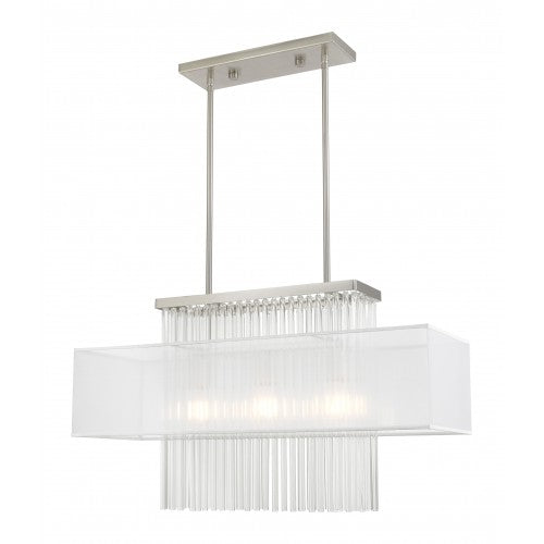Alexis 3 Light Brushed Nickel Linear Chandelier, Lighting, Laura of Pembroke