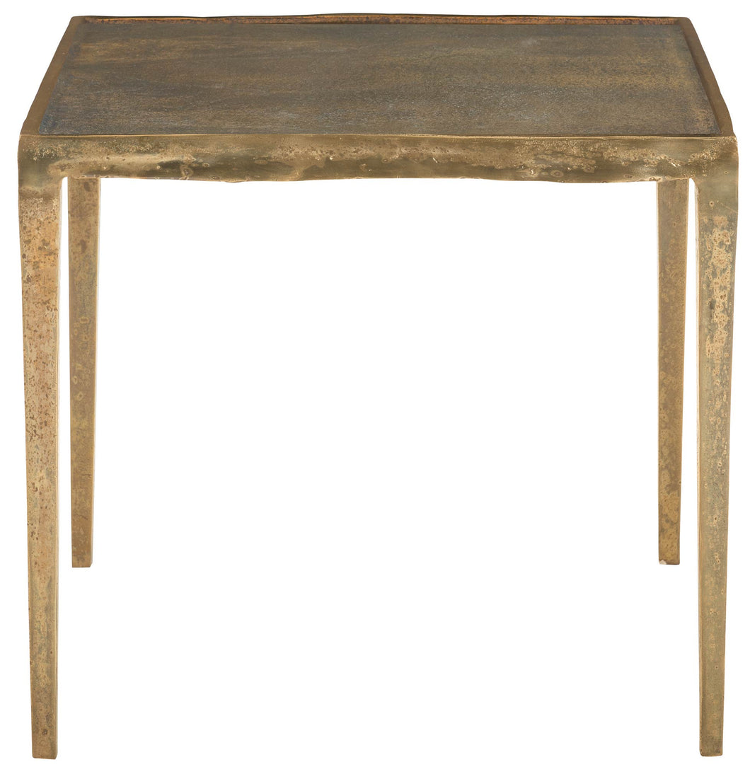 Gold Finish Square End Table, Home Furnishings, Laura of Pembroke