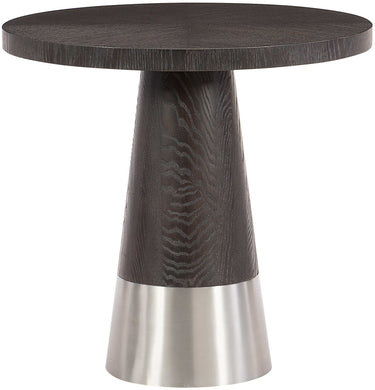 Round Wood Top Silver Base End Table