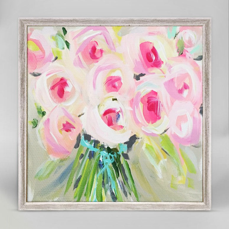 Bouquet of Pink Mini Framed Canvas 6x6