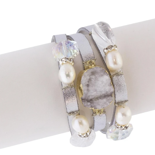Pangea Leather Pearl Bracelet Front