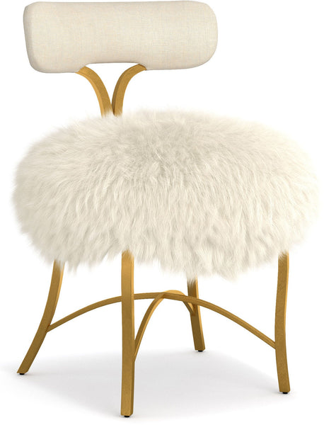Fur Upholstered Metal Side Chair