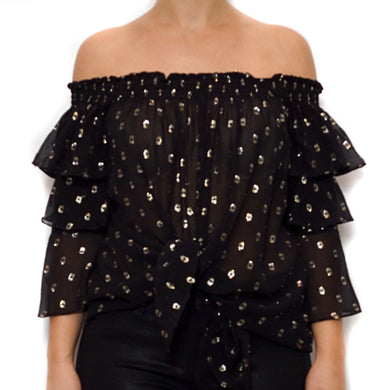 Polka Dot Smocked Off the Shoulder Top