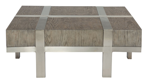Rustic Gray + Steel Cocktail Table