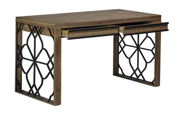 Black Iron Quatrefoil Desk