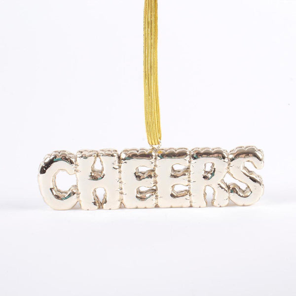 Gold Cheers Balloon Ornament