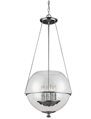 Six Light Large Pendant, Chrome Finish