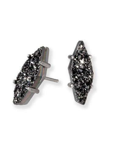 Brook Earring, Hematite and Black Drusy
