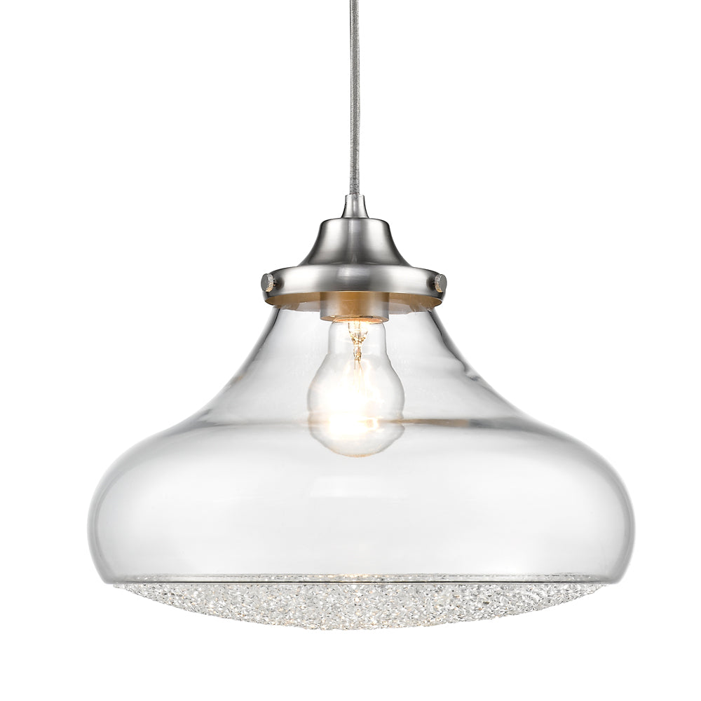 Asha Large Pendant in Pewter with Crushed Crystal Glass, Lighting, Laura of Pembroke