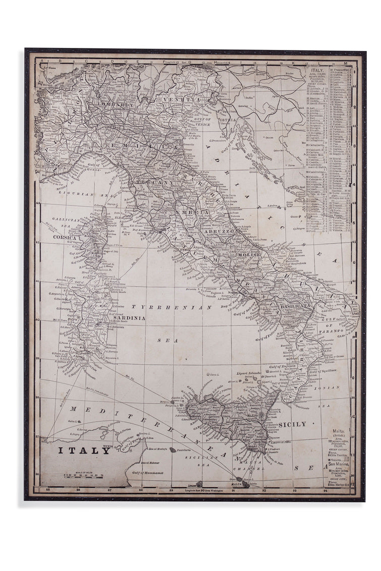 Antique Map of Italy Wall Art, Home Accessories, Laura of Pembroke