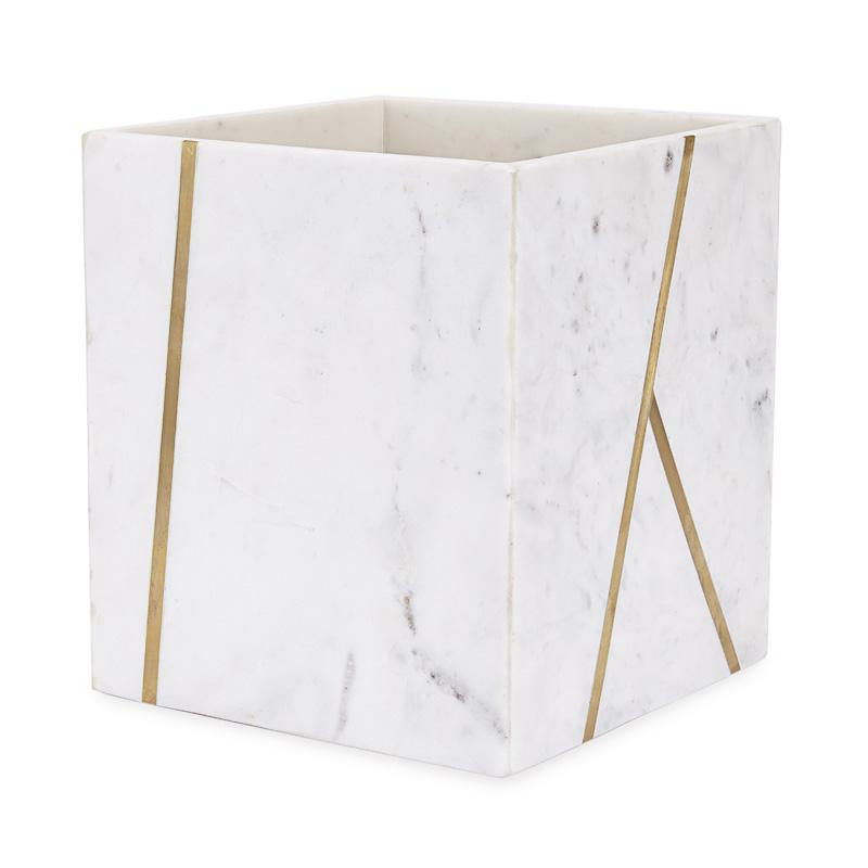 Marble and Brass Waste Basket