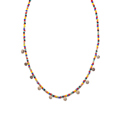 Mini Disc Beaded Short Necklace