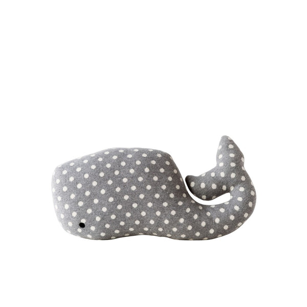 Cotton Knit Whale Pillow Grey with Dots