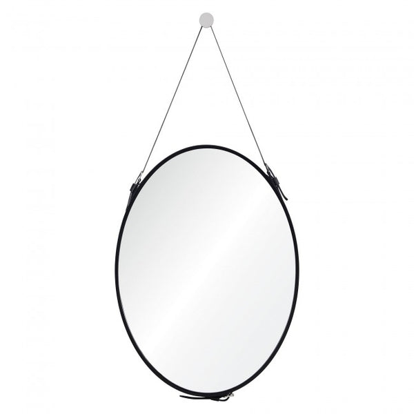 Black finish round mirror