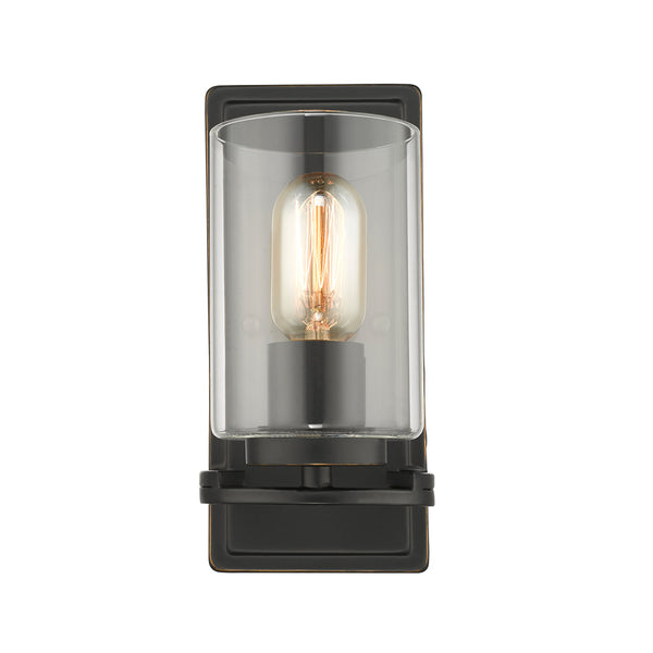 Monroe 1 Light Wall Sconce in Black with Clear Glass